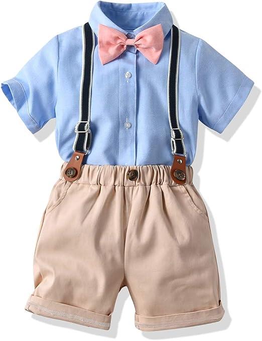 Trouser Sets Fit 12M-6T D5 3PCS NEW Baby Handsome boy gentleman Shirt Braces