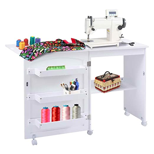 Mesa para la máquina de coser plegable con armario, blanco