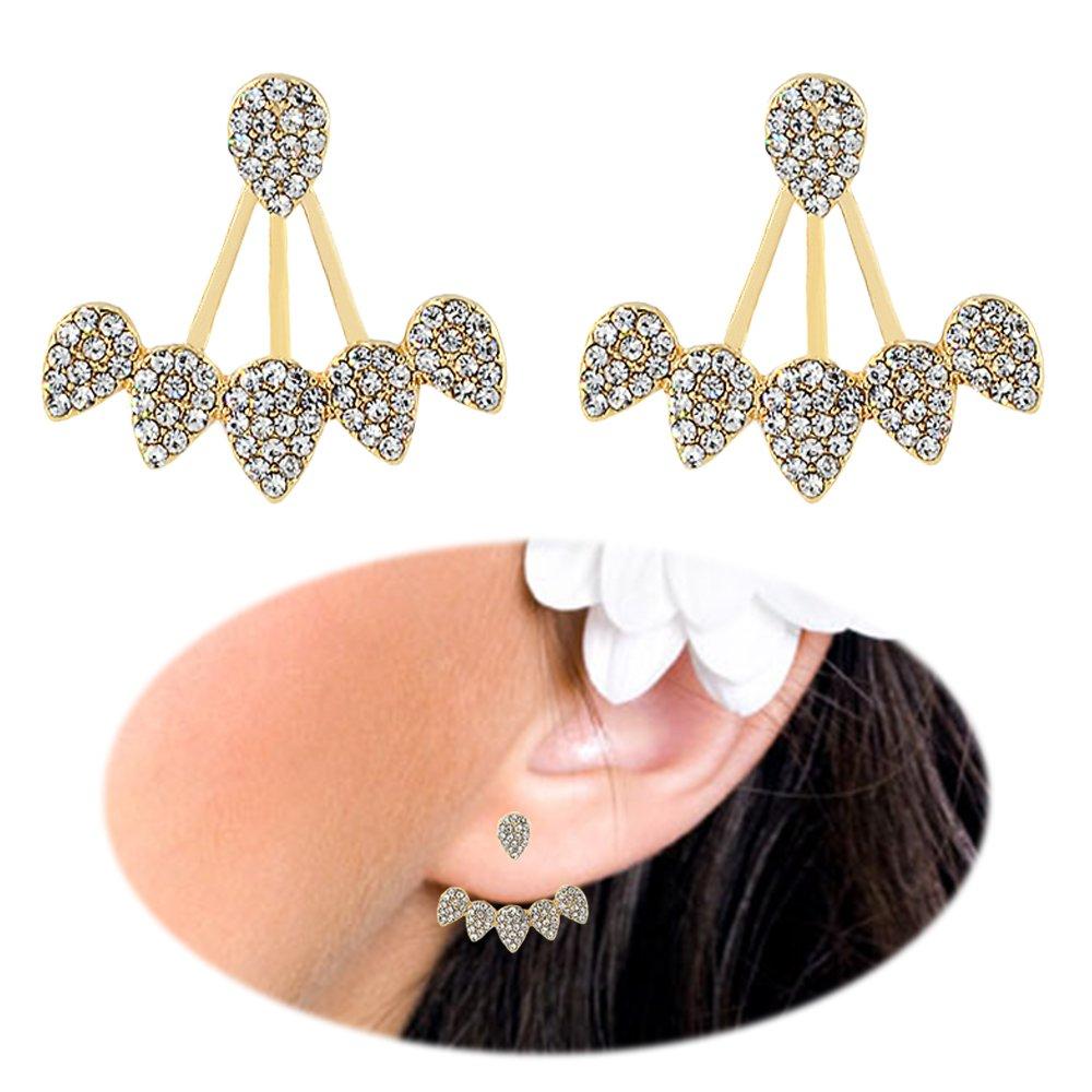 Ear Stud Crawler Earrings Cuff Climber Ear Wrap Pin Cute Women Vine Chandelier Rhinestone Clip on Jewelry BleSky C36-6STAR62-EARRINGS-GOLDEN19