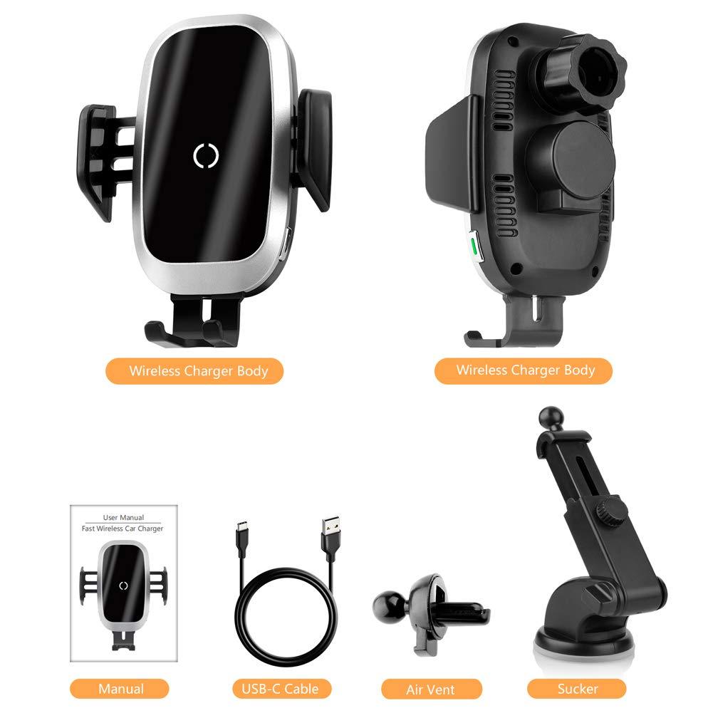 NeotrixQI Caricatore Wireless Auto Bloccaggio Automatico Qi Caricabatterie Ricarica Rapida Compatibile con iPhone XS Max//Xr//X//8 Plus,Samsung Galaxy S10//S9//S8//S7//S6,Huawei Mate 20 Pro