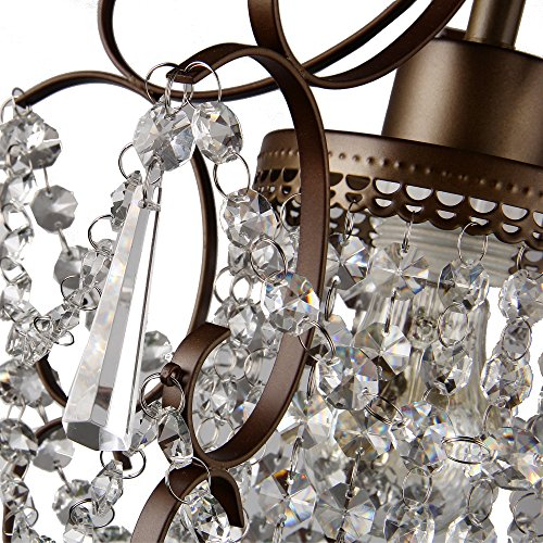 Crystal Chandelier Lighting Bronze Chandeliers 1 Light Iron Ceiling Light Fixture 17011 by LaLuLa (Image #8)