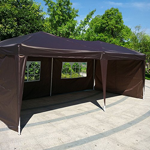 Z ZTDM 10×20 Ft Outdoor Pop Up Canopy Tent Camping Party wedding ,4 Sidewalls Waterproof Shade Instant Gazebo Folding Tent Dark Coffee