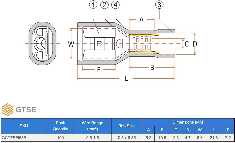 GTSE 100 unidades de conectores de culata azul 4,0 mm Terminales de crimpado preaislados premium