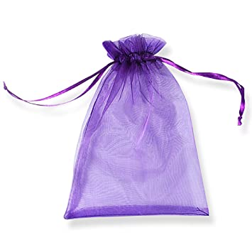 PLECUPE 100 Pcs Bolsa Organza Organza Bags, 13x18cm Transparente Organza Joya Bolsas Fiesta de Boda Bolsas de Regalo - Púrpura#2