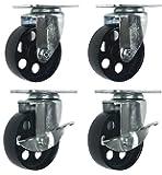 """4 All Steel Swivel Plate Caster Wheels w Brake Lock Heavy Duty High-gauge Steel 1500lb total capacity (3"""" Combo)"""