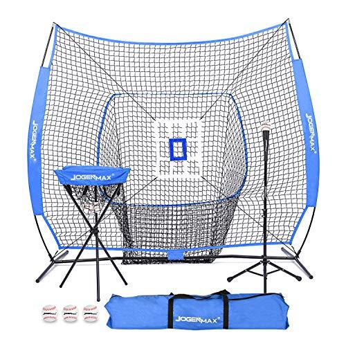 JOGENMAX 7x7 DLX Practice Net + Deluxe Tee + Ball Caddy + 3 Training Ball/Strike Zone Bundle + Carrying Bag | Baseball Softball Pitching Batting Training Equipment Set