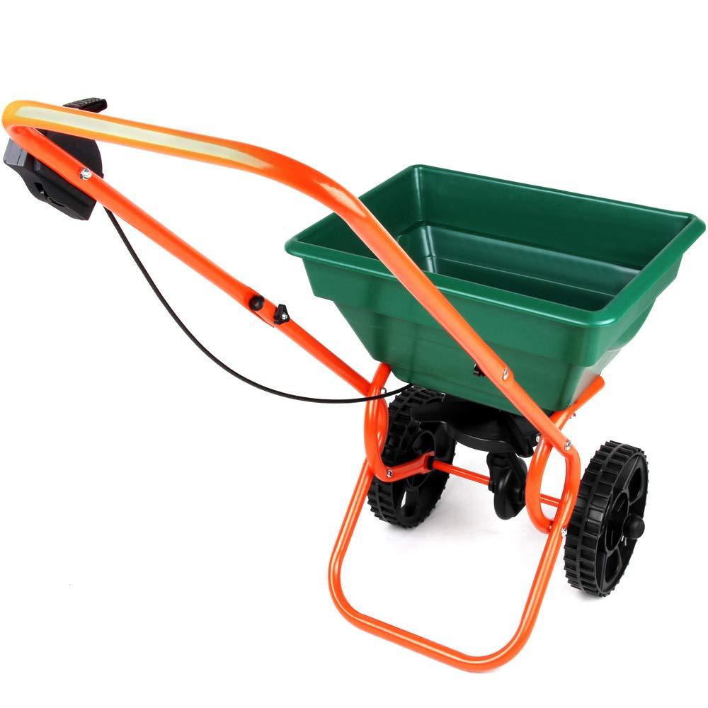 Deuba Professional Rotary Spreader 55lbs / 25L - Lawn, Fertiliser, Seed Spreader, Road Salt - Walk Behind Garden Tool