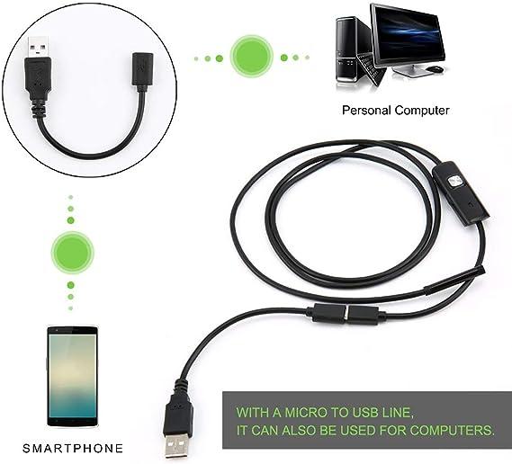 Elviray Endoscope imperm/éable dinspection dendoscope de 6 LED 5.5mm pour Android Focus Cam/éra Lens c/âble USB Endoscope imperm/éable