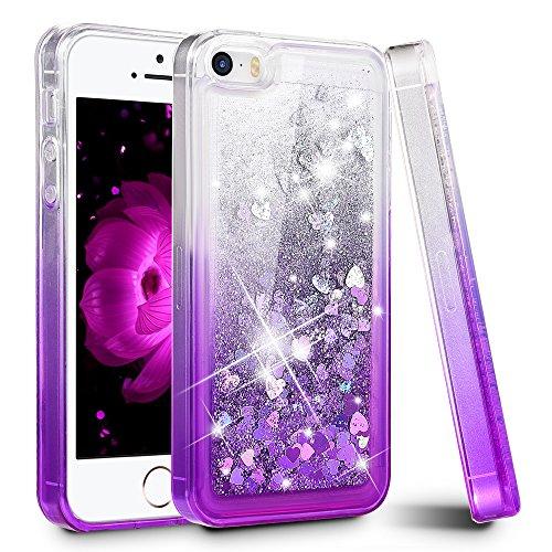 - iPhone 5/5S/SE Case, Ruky Gradient Quicksand Series Glitter Liquid Floating Colorful Flexible TPU Cute Case for Apple iPhone 5/5S/SE - Gradient Purple