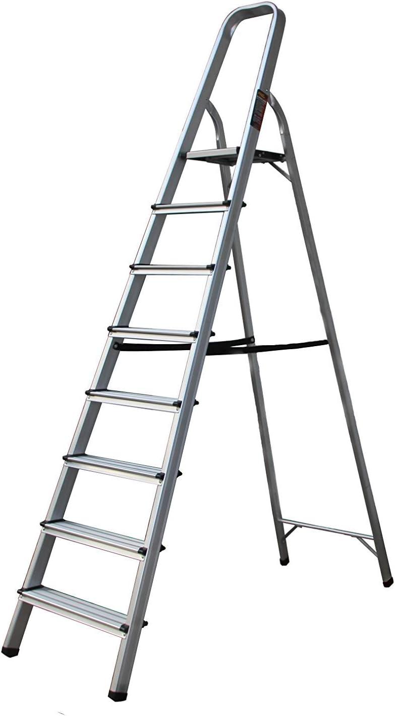 GWFVA Escalera de 8 escalones Taburete Plegable con empuñadura Antideslizante Pies de Goma Capacidad de 330 LB Escalera de Aluminio Liviana con Pedal Ancho para la Oficina doméstica: Amazon.es: Hogar
