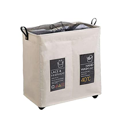 Olilio Rolling 2 Sections Laundry Hamper