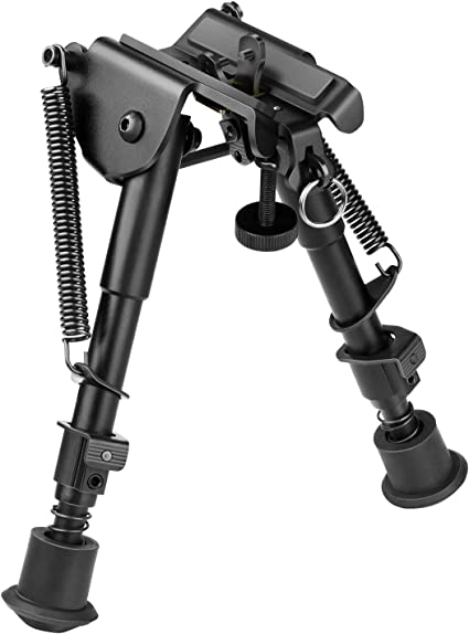 6-9 Inches Rifle Bipod Adjustable Spring Return+360 Degree Swivel 20mm Mount