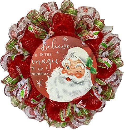 Believe In The Magic of Christmas Santa Claus Deco Mesh Handmade Wreath (Mesh Christmas Wreaths)