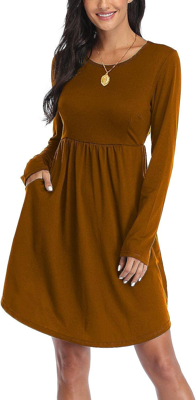 CYiNu Women's Long Sleeve Dress Casual Plus Size Cute Empire Waist Dresses with Pockets