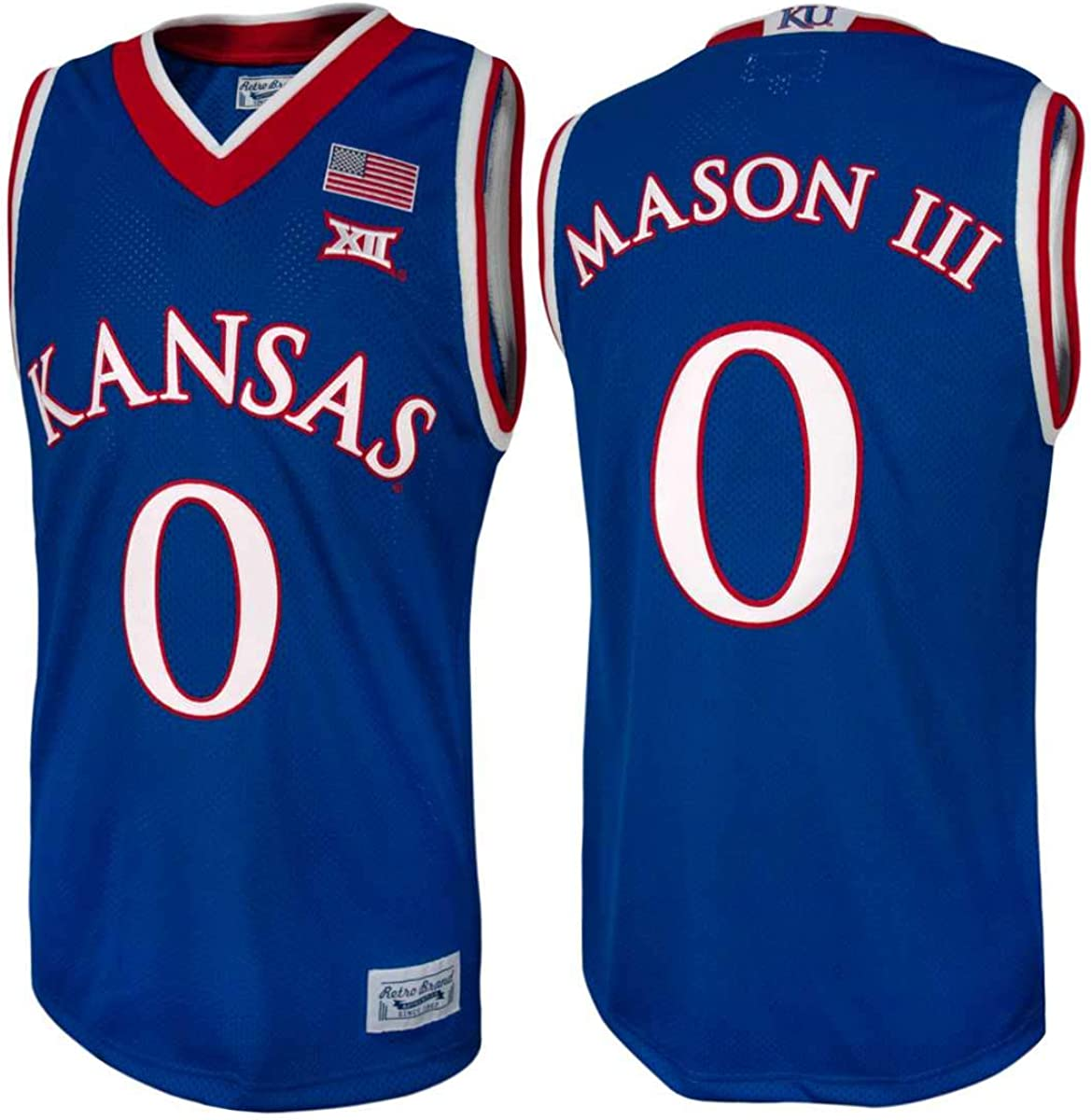 Frank Mason III #0 Retro Brand Authentic Basketball Blue Jersey