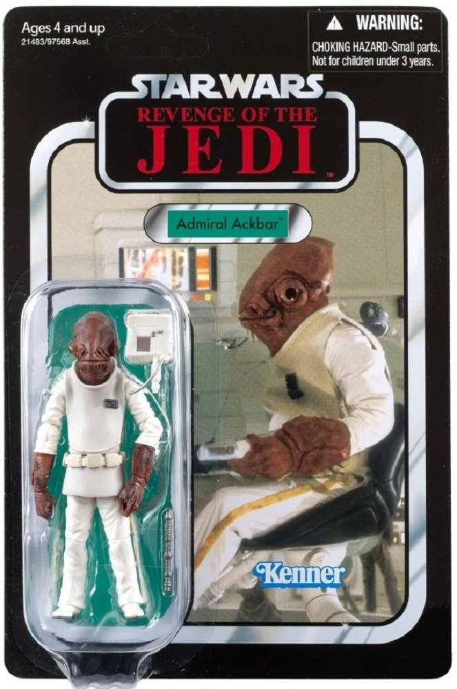 Star Wars SDCC Exclusive Revenge of the Jedi Admiral Ackbar VC22 Figure on Unpunched Card Kenner