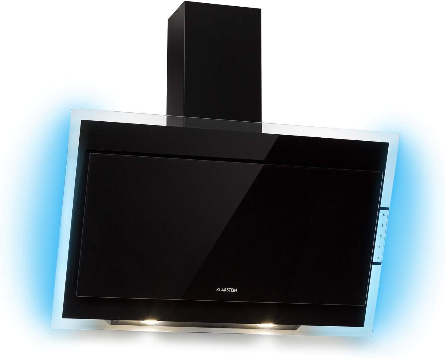 Klarstein Mirage 90 • campana extractora de cocina • campana extractora de pared • 90 cm • alcance aire de escape: 550 M3/h • Clase A • panel táctil • excelencia Eco • Luz RGB • Cristal • Negro: Amazon.es: Hogar