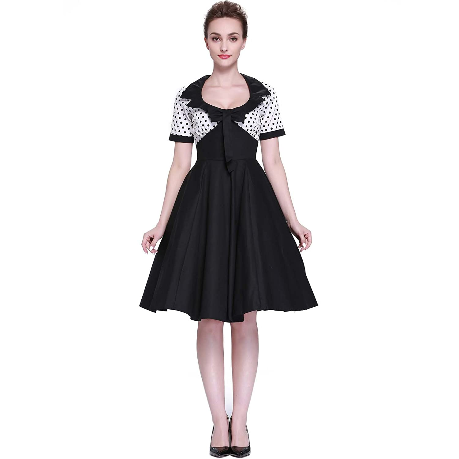 Vintage Inspired Halloween Costumes Heroecol Womens Vintage 1950s Dresses Square Neck Bow Short Sleeve 50s 60s Style Retro Swing Cotton Dress $20.59 AT vintagedancer.com