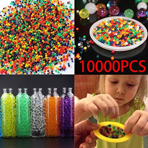 Ecosin 10000Pcs Crystal Paintballs Pearl Soil Water Beads Gel Ball Water Ball Swelling Ball Hydrogel Growing Water Balls For Flower Mud Grow Magic Jelly Balls Decoration