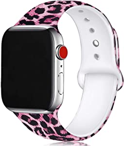 Pink Leopard Print Floral Bands Compatible with Apple Watch Series 4/3/2/1,Silicone Sports Straps Printed Pattern Wristband for iWatch 38mm/42mm/40mm/44mm S/M M/L for Women/Men