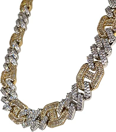 Men S Two Tone 14k White Gold Finish 15 5mm Miami Cuban Link Double Chain Choker Necklace