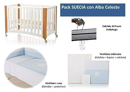 Bolin Bolon Pack Cuna-minicuna colecho SUECIA completa ALBA CELESTE