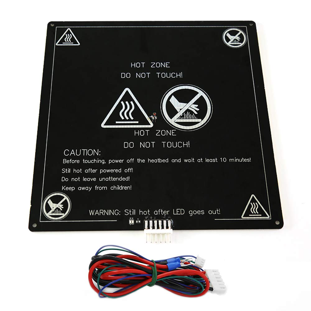 Qibei 3D Printer 3MM Aluminum Heated Bed, 12V MK2 MK3 Heat Bed with Hotbed Cable Line for Anet A8 A6 Desktop 3D Printer, Square 8.6' X 8.6' Black Square 8.6 X 8.6 Black