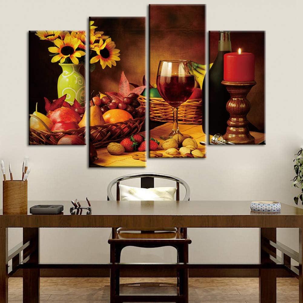 TBDZPS 4 Paneles Cartel De Impresión De Arte De Pared Vintage sobre Lienzo Pintura De Flores Florero Fruta Copas De Vino Cuadros De Pared para Decoración del Hogar