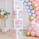 Baby Shower Blocks with Letters, Clear Balloon Blocks for Baby Shower Decorations, Gender Reveal Backdrop & First Birthday Fa