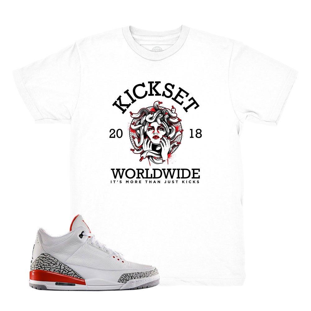 df9f7b29cdf Kickset Katrina 3 Worldwide Medusa Shirt to Match Jordan 3 Katrina Fire Red  Sneakers | Amazon.com