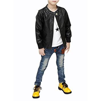 13fbeef6e SODIAL(R) New Boys Coats Faux Leather Jackets Children Fashion ...