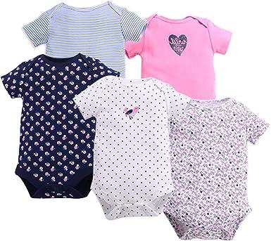 KINLOU Body de 100% Algodón Bebés Niños y Niñas - Pijamas de Recién Nacido Manga Corta/Manga Larga/Mameluco Bodies para 0-18 Meses, 3/5 Pack: Amazon.es: Ropa y accesorios