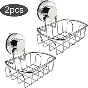 Top-Spring Soap Dish Holder for Bathroom Shower Kitchen Sink, Powerful Vacuum Suction Cup Rust-Proof Sponge Holder, Stainless Steel Self-Draining Soap Saver Basket Tray Shelf (Deep)