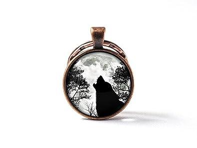 Beautiful Dandelion Llavero de Lobo Negro con Diseño de ...