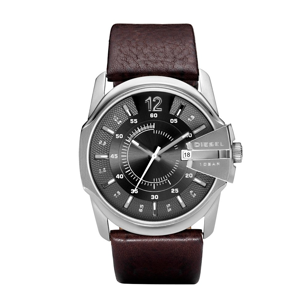 Diesel Men's Master Chief Quartz Stainless Steel and Leather Casual Watch, Color: Silver-Tone, Brown (Model: DZ1206)