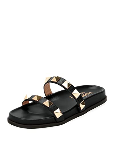 7a8653694 Amazon.com  Valentino Garavani Rockstud Flat Leather Slide Sandals 36  Black  Shoes