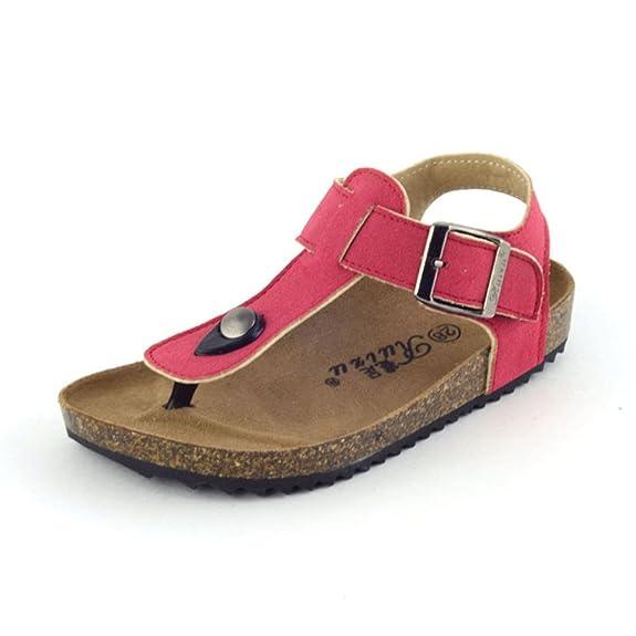 Cystyle Unisex-Kinder Zehentrenner aus Kork - Sandale geschlossener Fersenbereich (27(Shoe length:18cm), Stil 6)