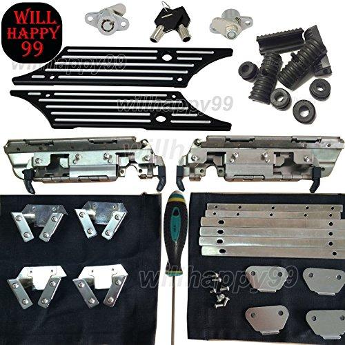 Hardware Billet - Black Saddlebag Hardware Kit Billet Latch Cover Lock Rubber