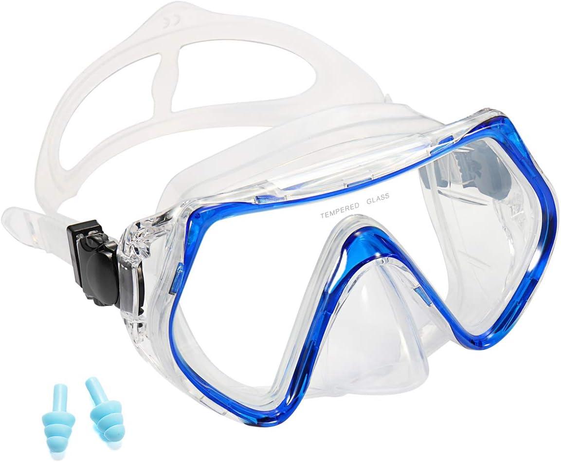 Supertrip Masque de plongée avec Tuba pour Adultes avec Verre trempé résistant aux Chocs, 2 Embouts, 1 étui étanche Inclus