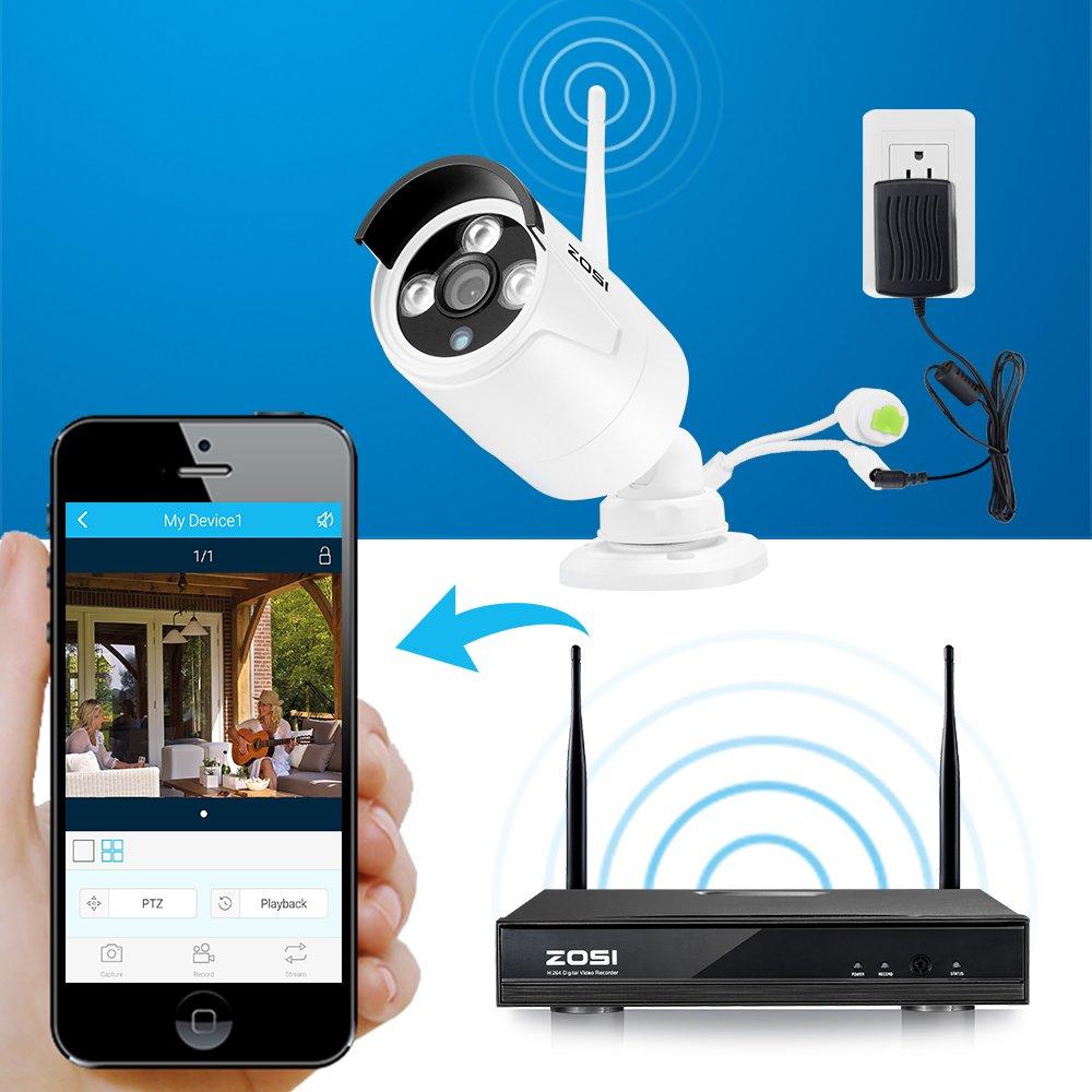 ZOSI 4CH HD 1080p NVR Enregistreur Vid/éo 4X Cam/éra IP WiFi 2,0MP Syst/ème de Surveillance sans Fil Ext/érieur IP66 30m Vision Nocturne APP Grauite pour Smartphone /& Mac /& Windows sans Disque Dur
