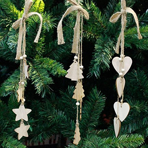Woaills Christmas Hanging Pendant Decoration Wood Chip Tree Ornaments Xmas Gifts Decors (Spirit Halloween Corporate Office)
