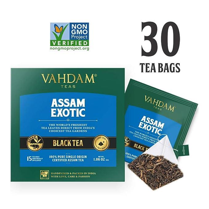 VAHDAM, té negro de Assam (30 bolsitas de té) - Bolsitas de té de hoja larga de ...