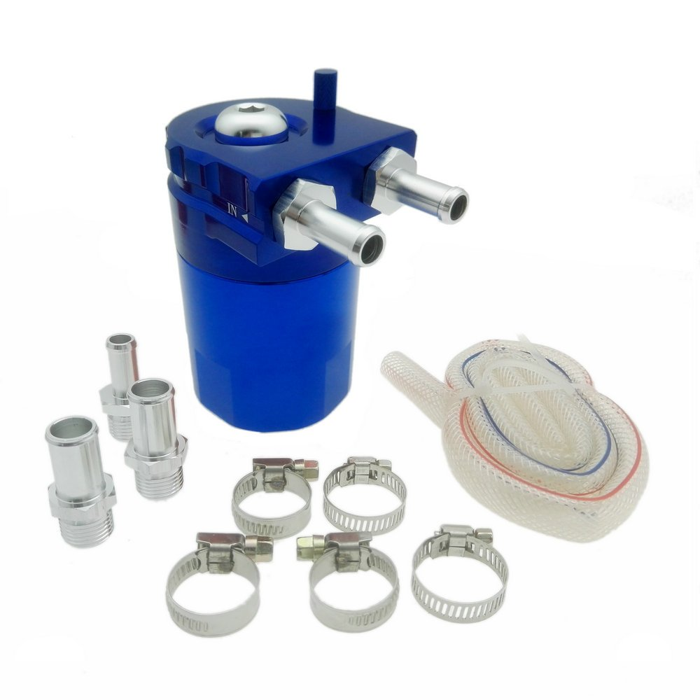 Heinmo Aluminum Alloy Universal Cylinder Car Oil Catch Can Reservoir Tank with Breather Kit Silver by Heinmo