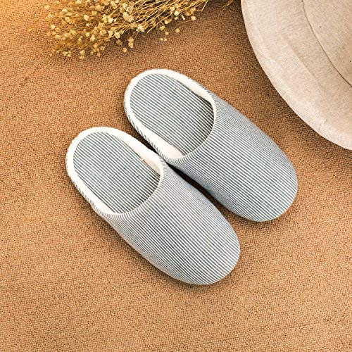 2 JaHGDU Ladies Casual Slipper Indoor Slip in Autumn and Winter Warm Stripe Pattern Comfortable Classic Basic Super Soft Wool Slippers