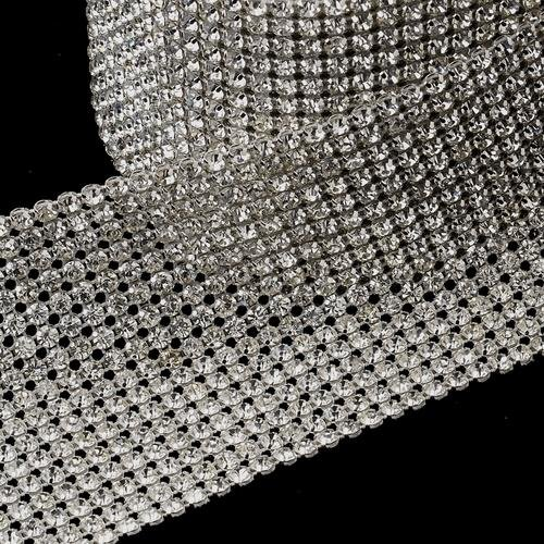 RaeBella Weddings Decorative 16 Row Rhinestone Mesh Ribbon - 5 Yards per roll / spool by RaeBella Weddings & Events New York