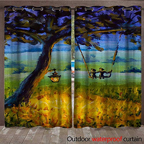 outdoor door curtain Oil painting Evening rustic landscape a lantern hanging on a tree a guy with a girl in love ride on a swing Green meadows a lighted meadow ()