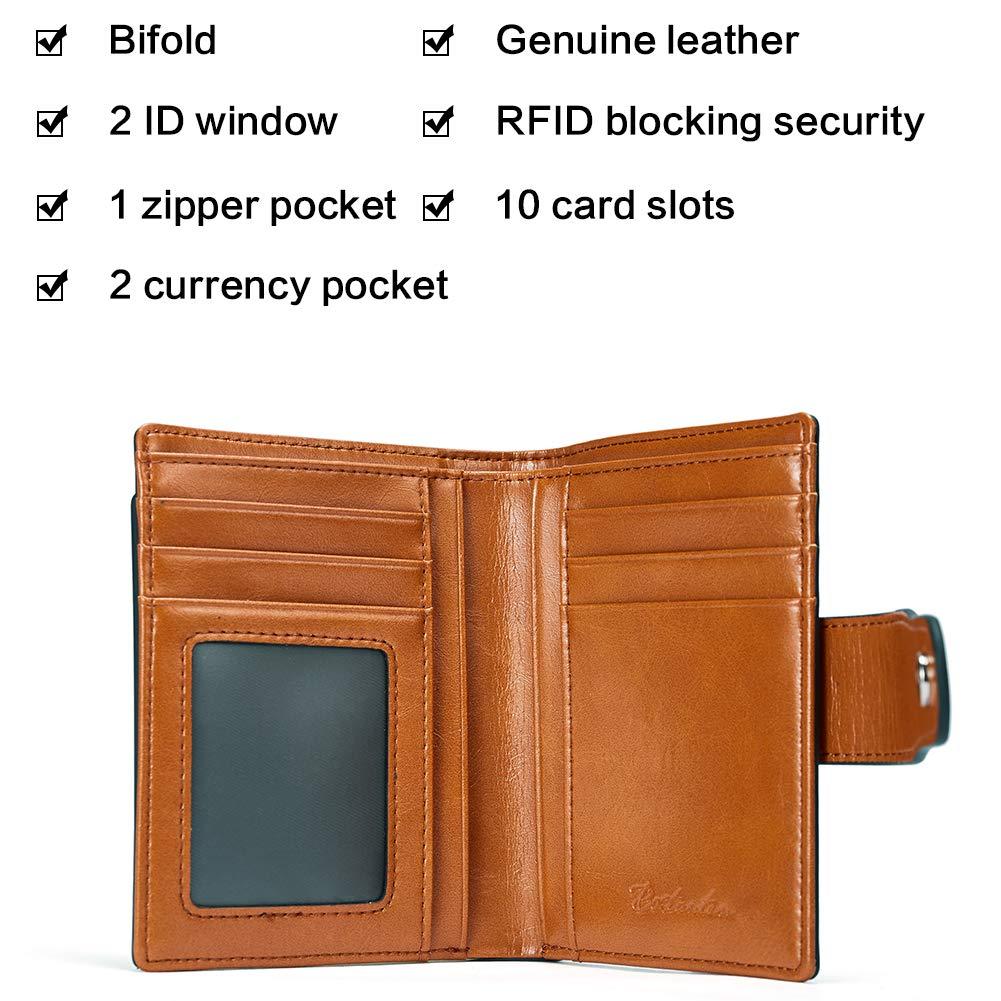 70bdf585f2510 BOSTANTEN Damen Echtes Leder Geldbörsen RFID Slim Wallet 10 Kartenfächer  Portemonnaie Kleingeldfach mit Reißverschluss Braun  Amazon.de  Koffer