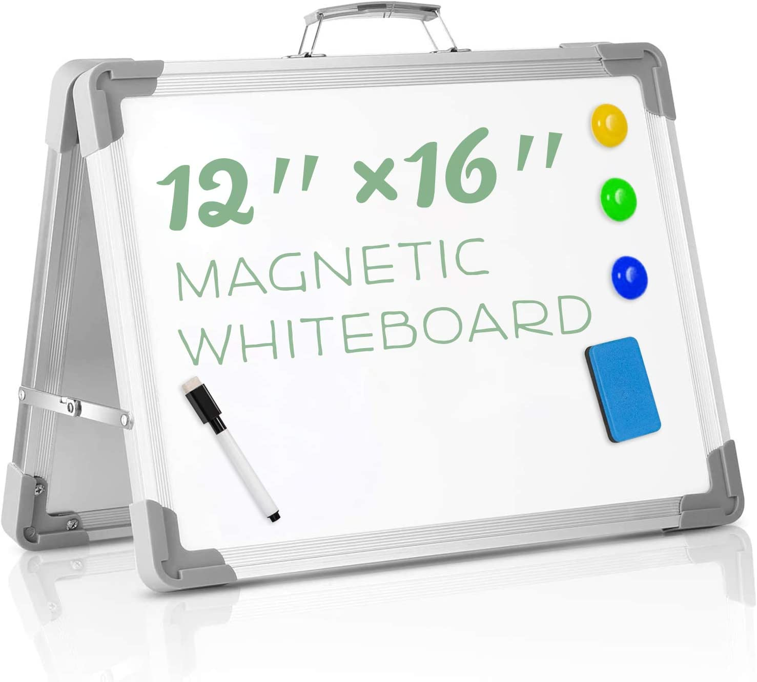 DOZZZ Small Magnetic Whiteboard with Double-Side and Marker for Kids Drawing and Teacher Instruction