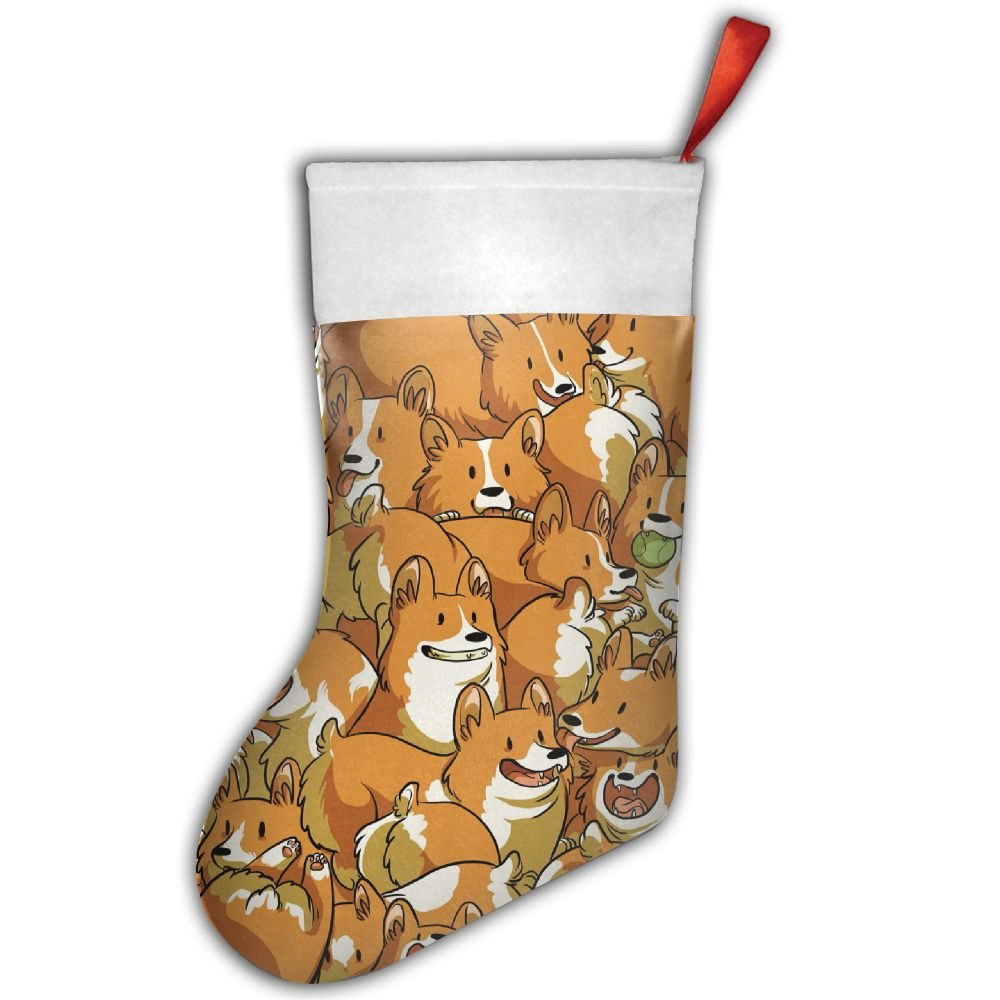 Corgi Animal Welsh Corg Christmas Hanging Stocking,Assorted Santa Gift Socks Hanging Accessories For Xmas Tree Decoration Only Printed One Side SpringTumbler
