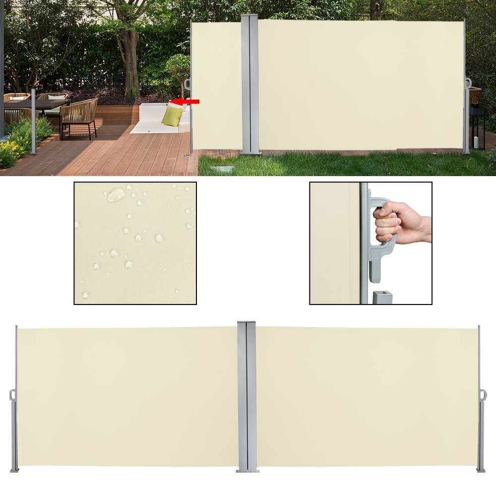 HG® Seitenmarkise 160x600cm Sonnenschutz Markise TÜV geprüft beige Seitenmarkise Windschutz inkl. Montagematerial für Balkon huigou